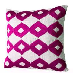 Pink Throw Pillows For Sofa With Chaise Leather Decorative Pillow Hot White Silk Fuchsia