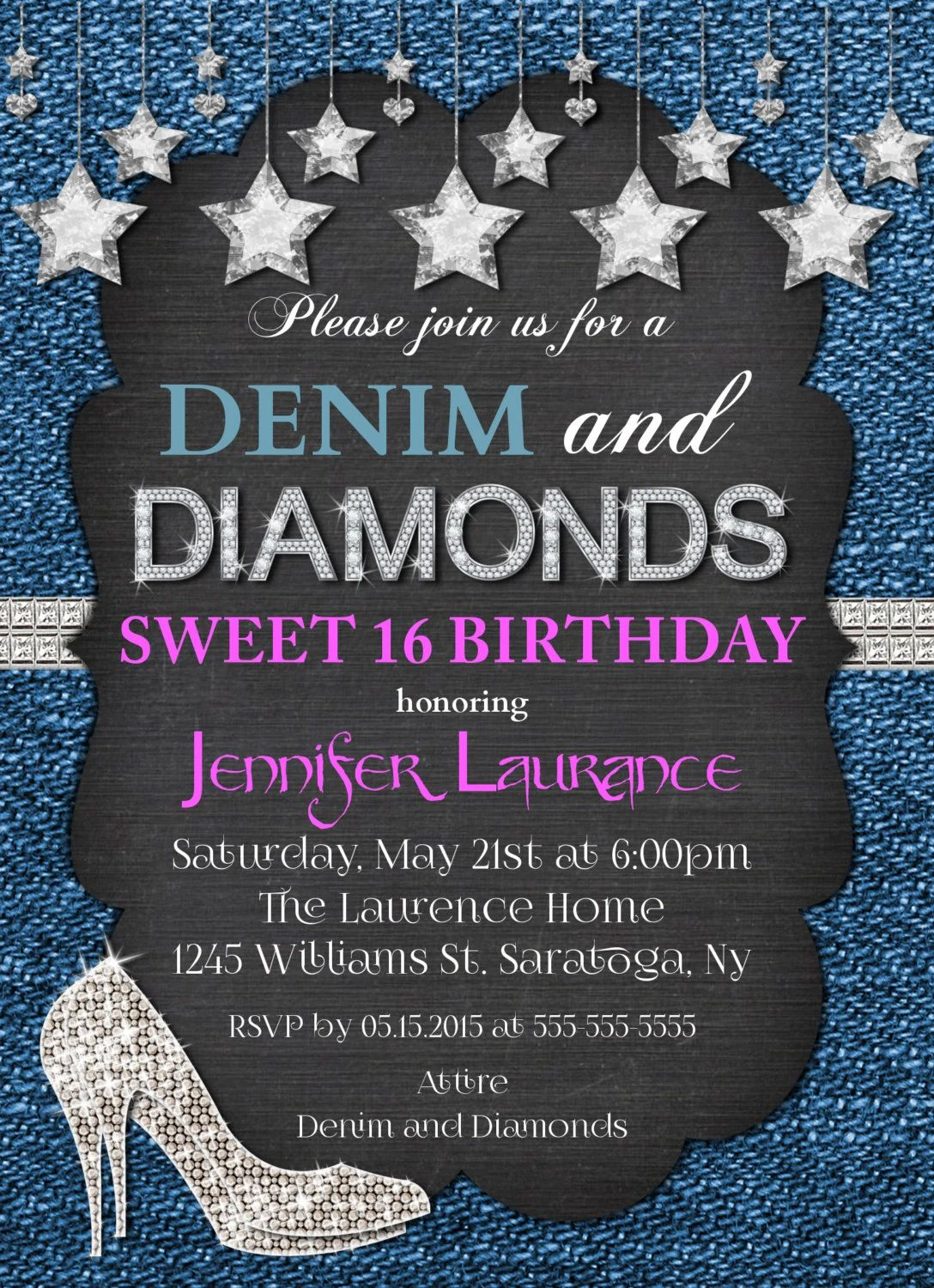 denim and diamonds invitations
