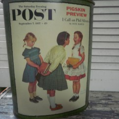 Red Kitchen Trash Can Rustic Cabinet Hardware Norman Rockwell Tall Cheinco Made In Usa Saturday