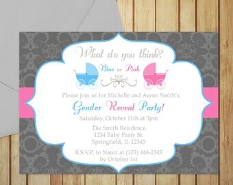 Printable Gender Reveal Invitation Editable Template