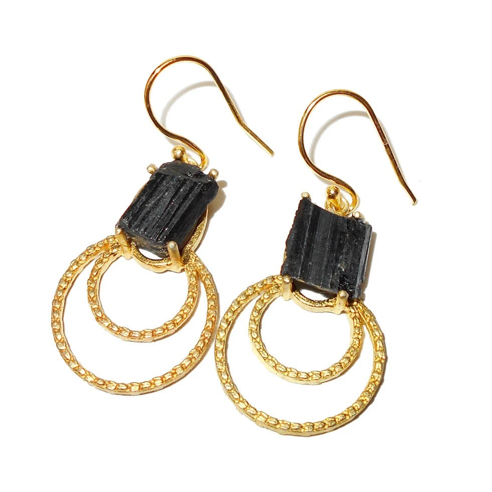 Black Tourmaline Earrings Handmade Earrings Gemstone by Vedka