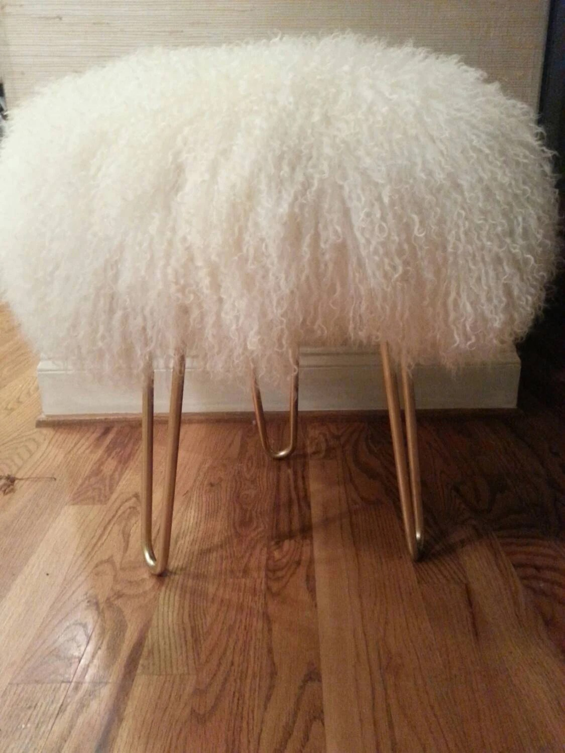 vanity chair white fur indoor wicker glider natural mongolian lamb stool with hairpin legs by