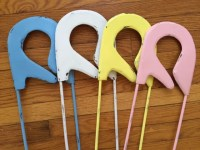 Safety pin large wall hanging white yellow pink blue