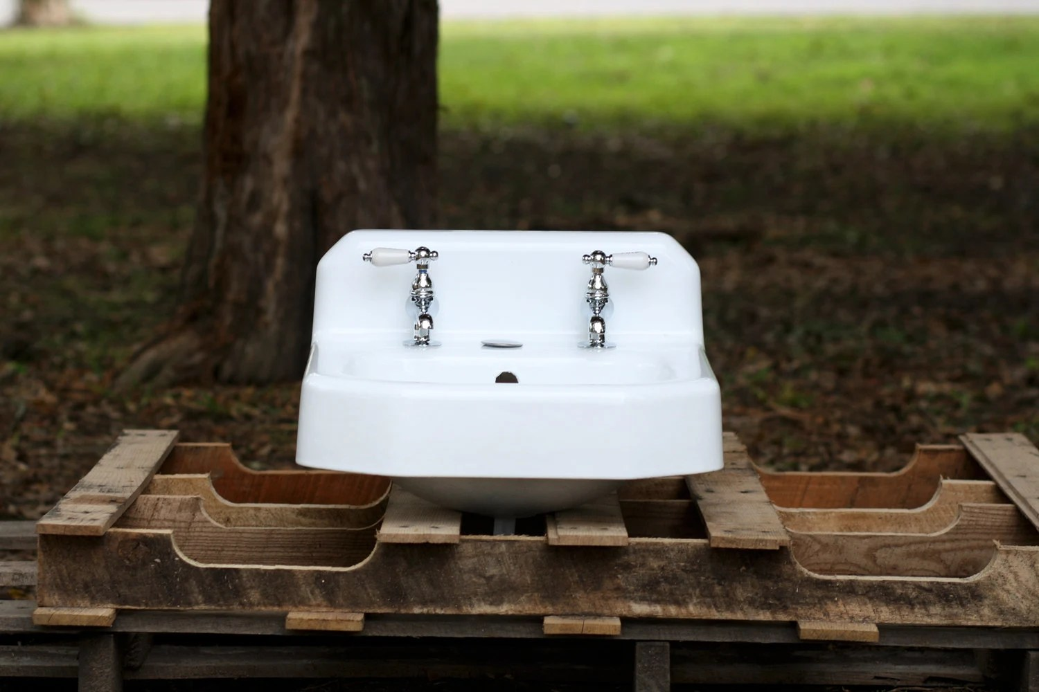 Cast Iron Bathroom Sink Refinished Mid Century Modern Wall Mount Cast Iron 1953