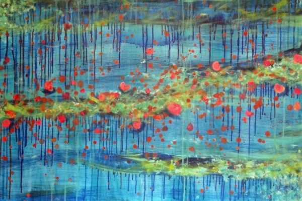 Abstract Acrylic Splatter Paint Bright Spring Colors Drip