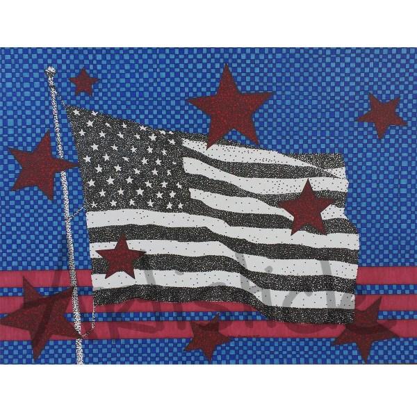 American Flag Print Red White Blue Art Star Artwork