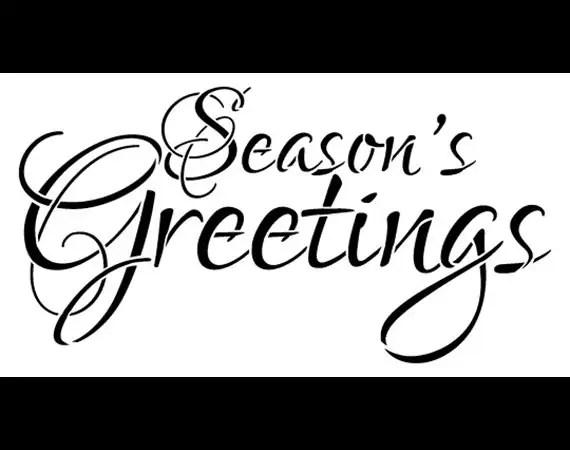 Word Stencil Season's Greetings Elegant 16 x 8 SKU: by