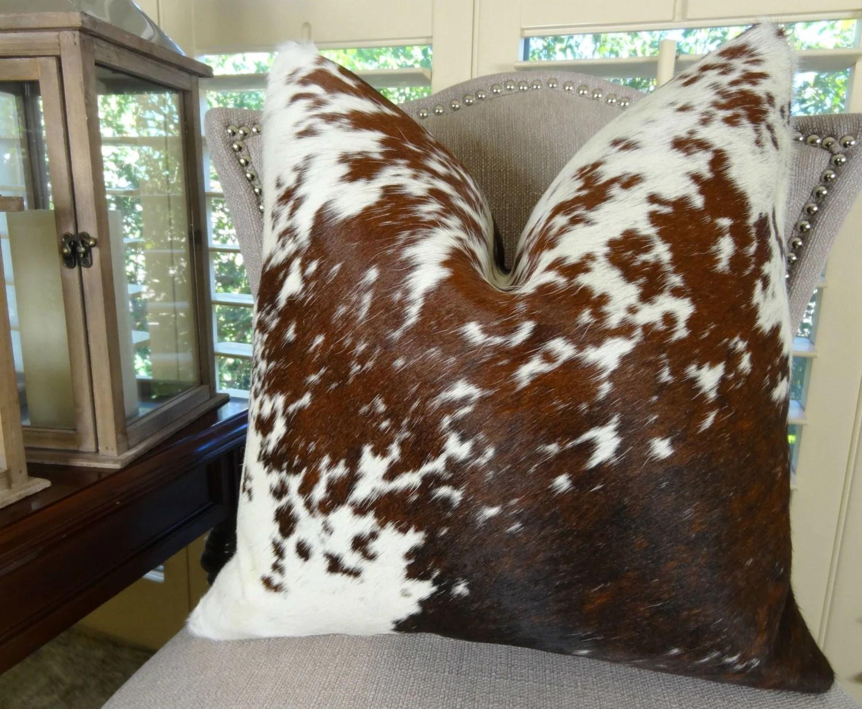 cowhide sofa throws flexsteel leather sofas decorative throw pillow cover brown white