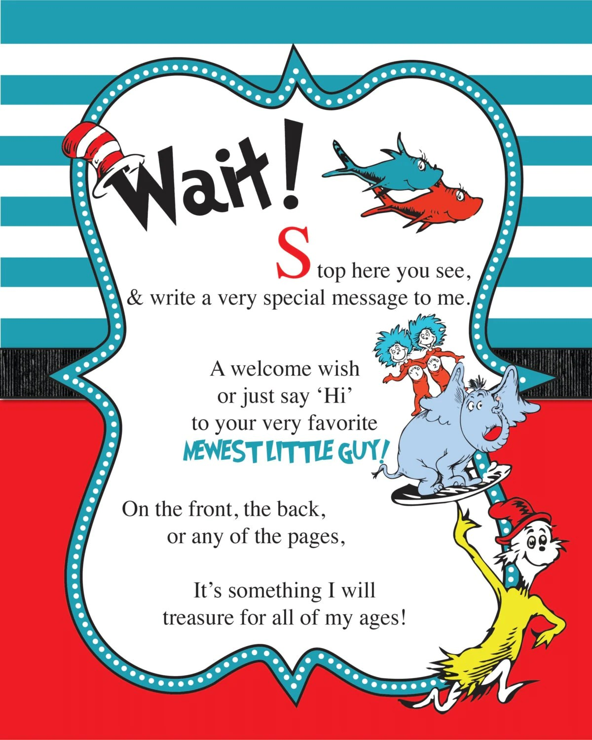Dr Seuss Guest Book Sign Baby Shower Printable