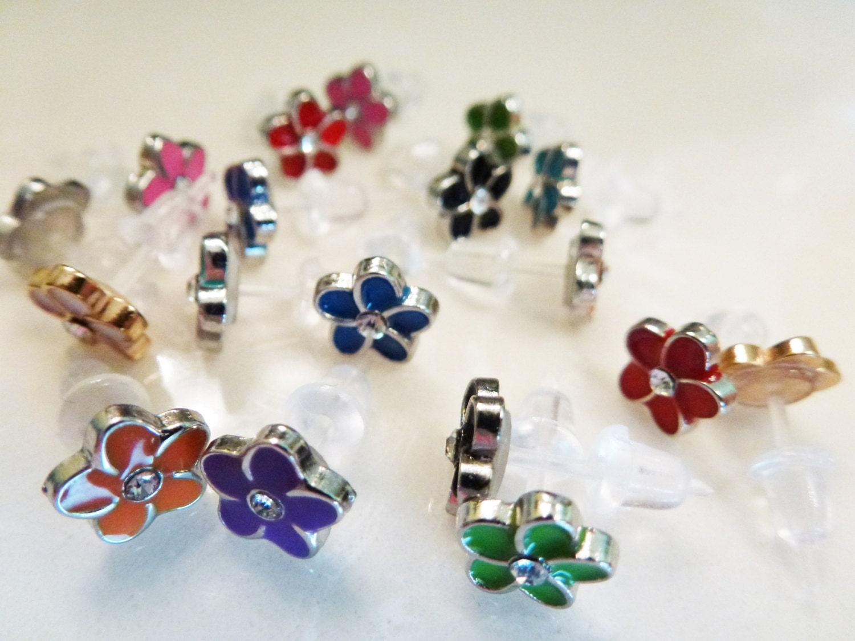 Colorful flower plastic post earrings for sensitive ears 1