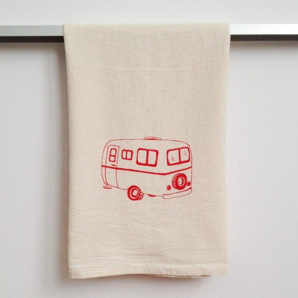 Flour Sack Dish Towel Camper Hand Printed In Raspberry Red