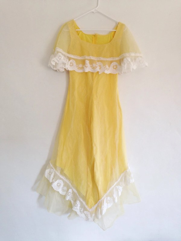 Vintage Dress 1950s Canary Yellow Sheer Lace Capelet Dress