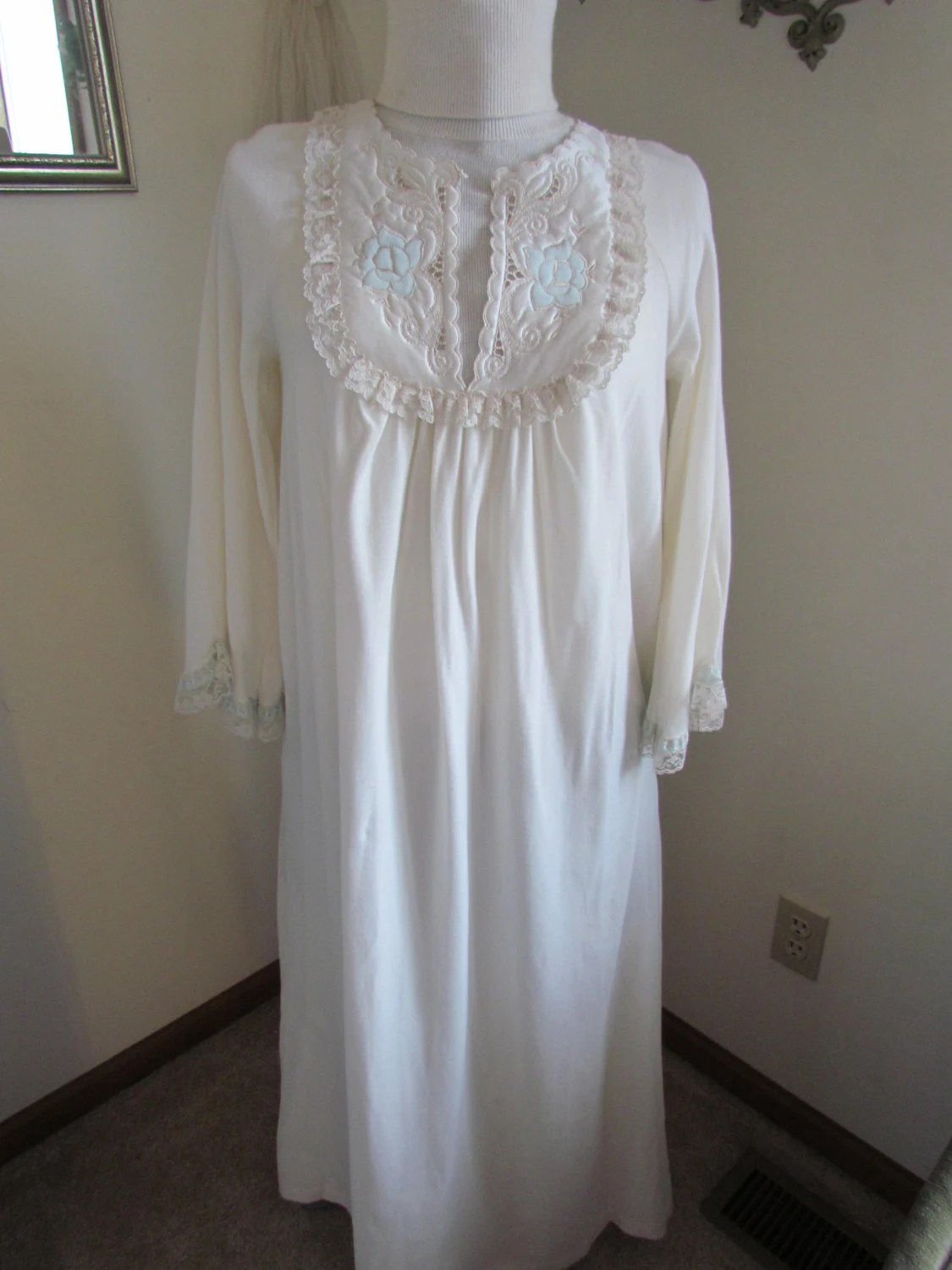 Long Sleeved Cotton Nylon Nightgown Victorian Ivory Womens