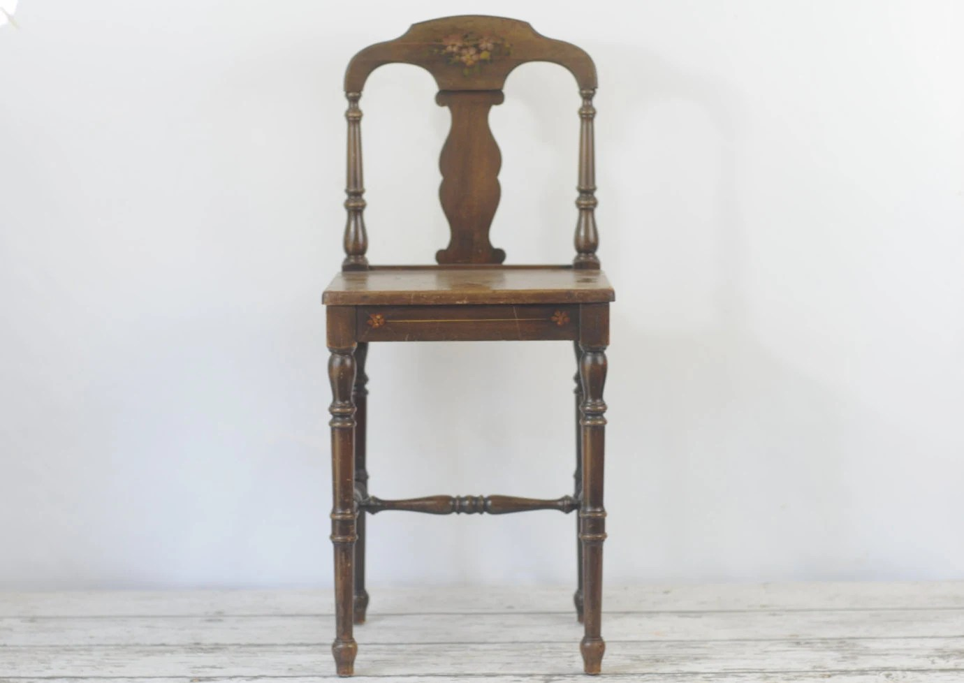 antique vanity chair french country ladder back dining chairs vintage wood small