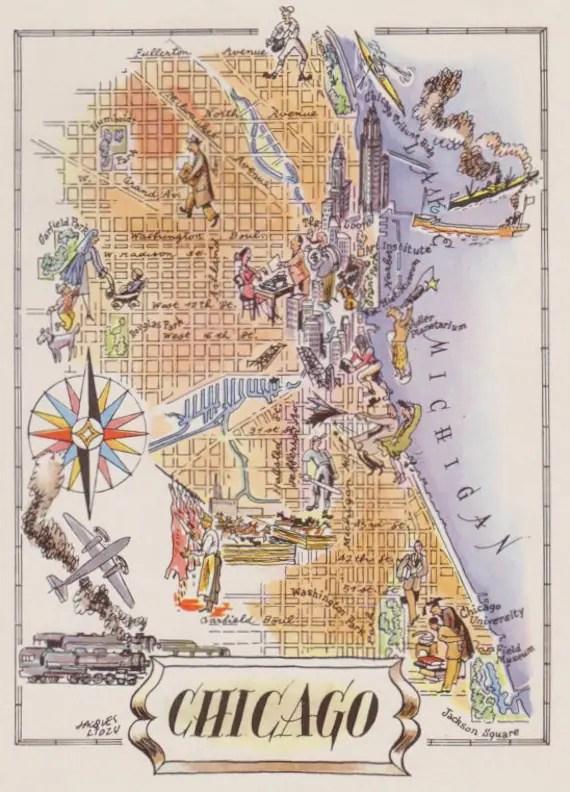 Chicago Map Print Old Map Illustration Vintage Map Art