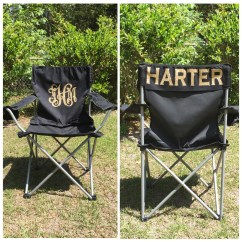 Personalized Folding Chair Leather Wingback Uk Monogrammed Camp Beach
