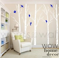 Vinyl Wall Art Decal Skinny Birch Trees with by WOWhomedecor