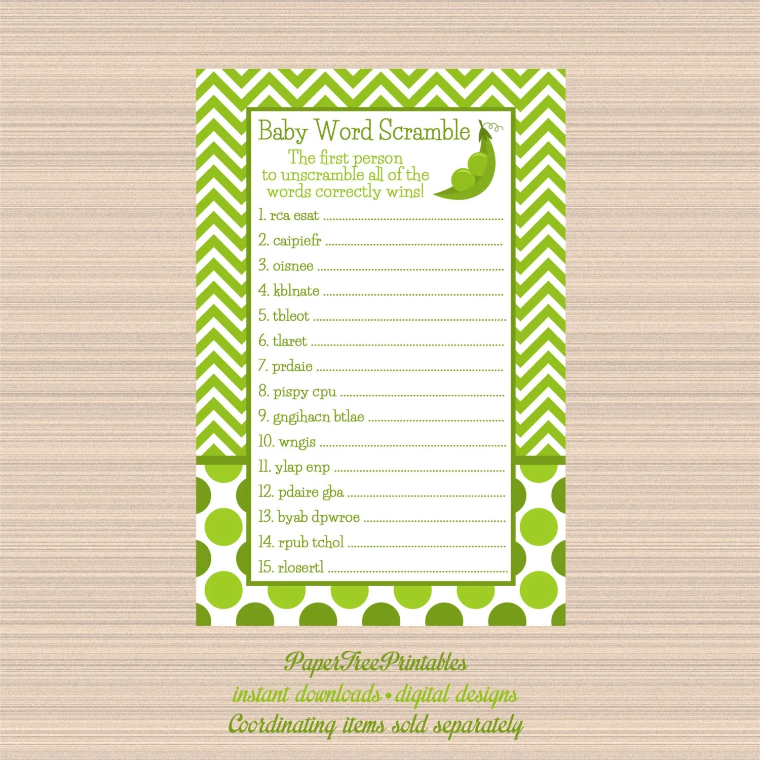 Digital Word Scramble Game Peas In A Pod By Papertreeprintables