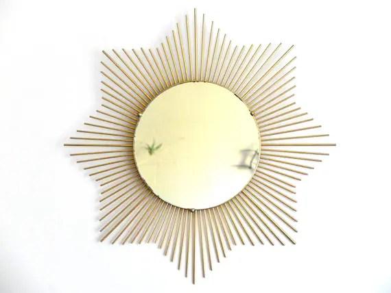 HUGE french Sunburst mirror / 1950s mid century modern