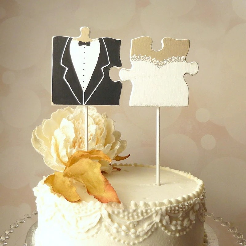 Puzzle Piece Wedding Cake Topper Mr and Mrs Cake Topper