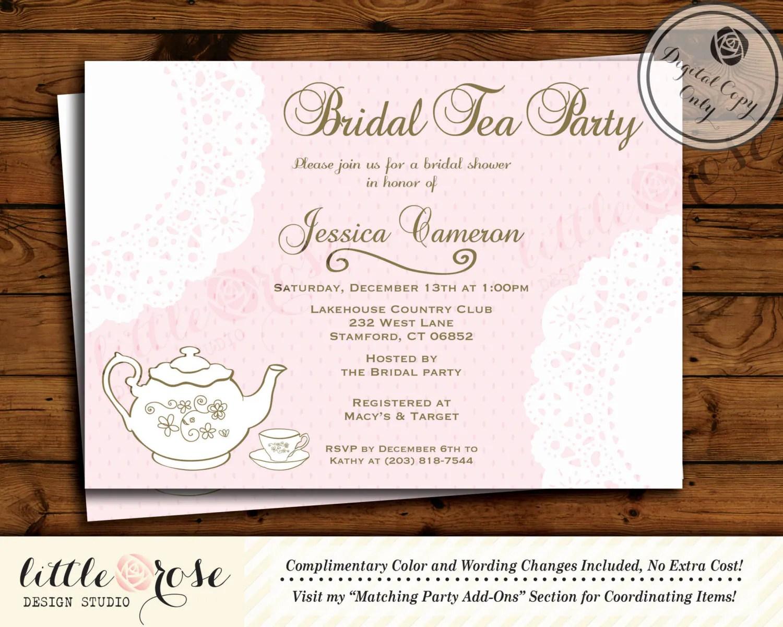 Doily bridal tea party invitation bridal shower invite for Bridal shower party invitations