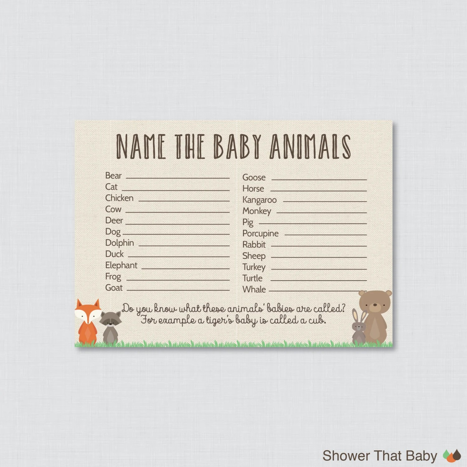 Baby Animals Name Game Baby Shower Printable Woodland Baby