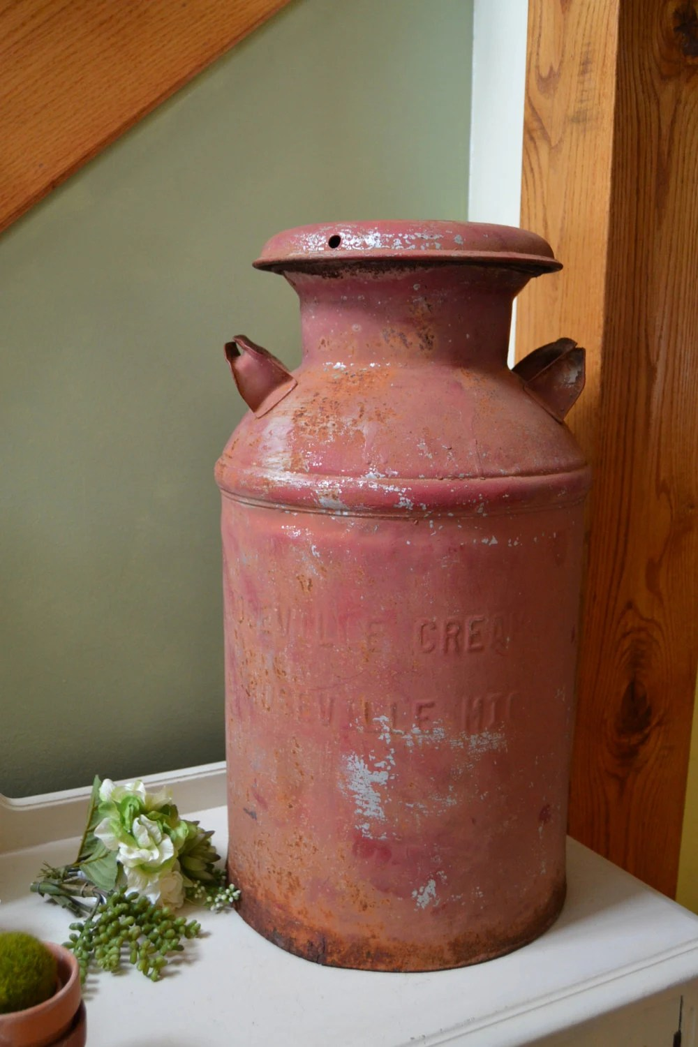 Vintage Large Red Dairy Milk Can Rusty Farm Bucket