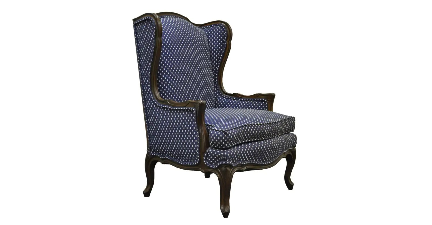 country style wingback chairs rubber chair foot protectors vintage french louis xv carved wood frame