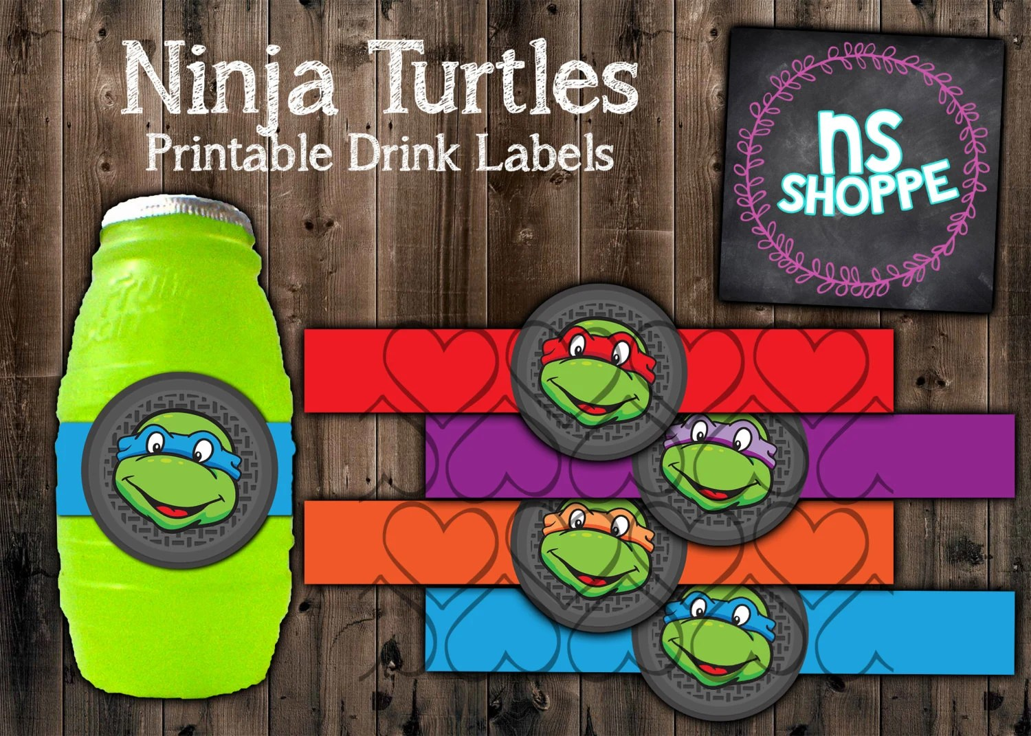 Tmnt Drink Labels Instant Download Printable Party Supples