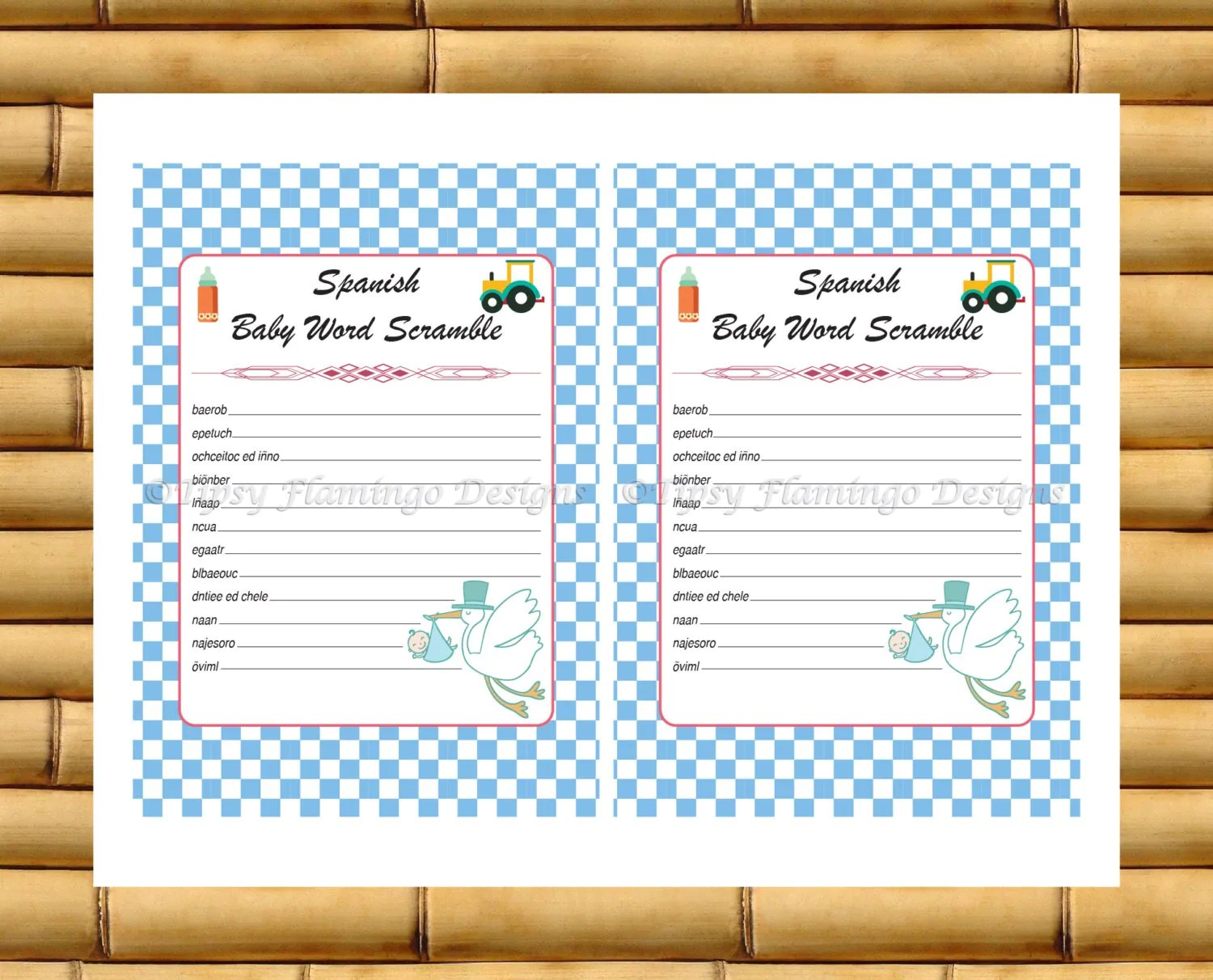 Unique Spanish Baby Shower Word Scramble Printable Baby