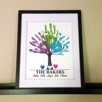 Family Tree Art Names Heart Handprints Fingerprints Wall Art