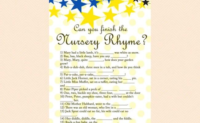 Nursery Rhyme Finish The Nursery Rhyme Game Twinkle Twinkle
