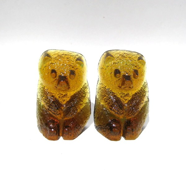 Modern Blenko Glass Bear Bookends Brown Teddy