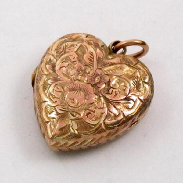 Vintage Antique Locket Gold Filled Heart Engraved