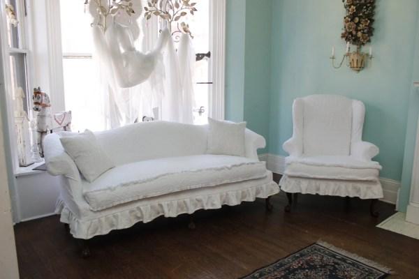 2 Pc Shabby Chic Ruffle Slipcovered Sofa