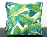 Tropical palm leaf pillow cover 18x18 in indoor outdoor fabric