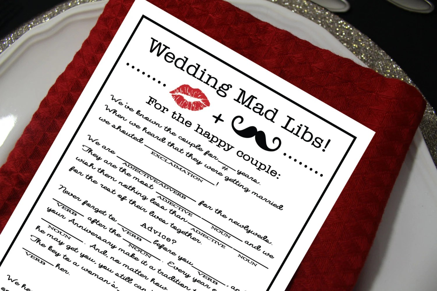 Wedding Mad Libs Diy Printable File Marriage Advice Funny
