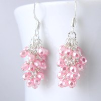 Pearl Pink Cluster Earrings Pink Dangle Earrings Pink