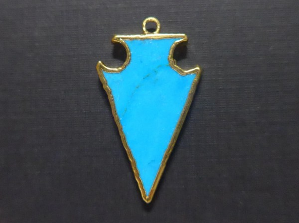 Blue Turquoise Arrowhead Pendant 24k Gold Electroplated