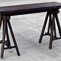 Horse Sofa Table Black Corner Living Room Ideas Trestle Style Console Sawhorse