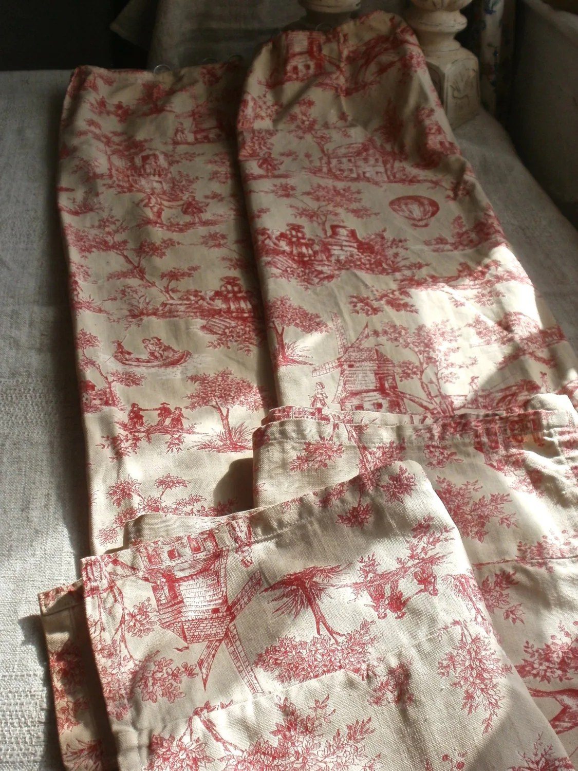 Vintage Curtains Toile de Jouy Panels French Fabric Vintage