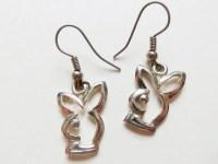 Playboy Bunny Earrings Vintage Silver Plated by MeerkatsManor