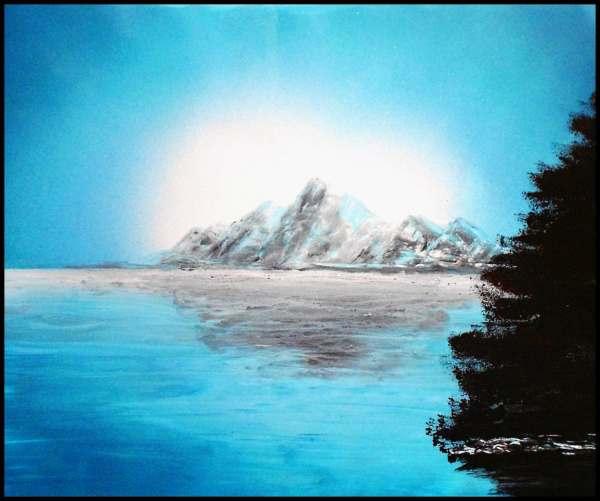 Spray Paint Art Original Mountain Ocean Landscape Poster