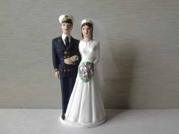 Vintage Military Wedding Cake Topper Naval Noneedfornew