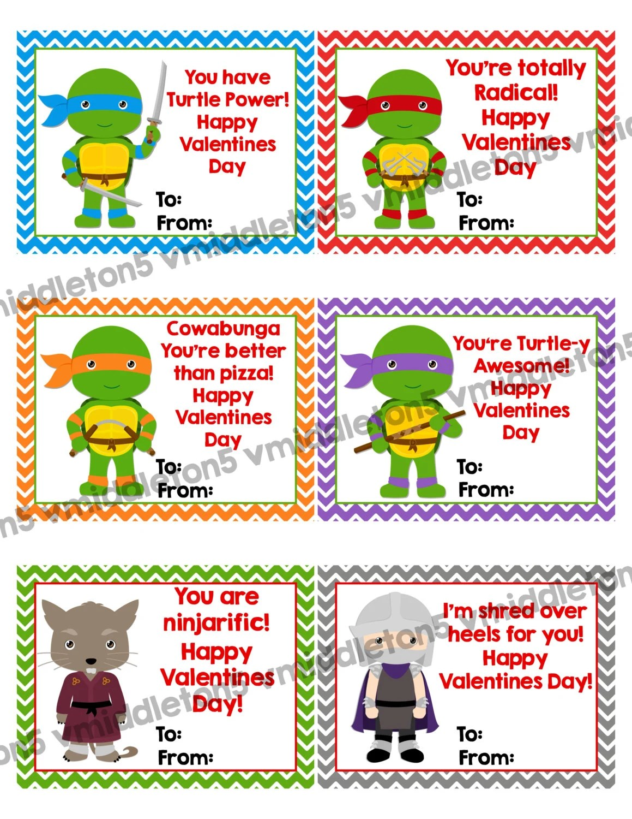 Ninja Turtle Inspired Printable Valentines Day Cards Instant
