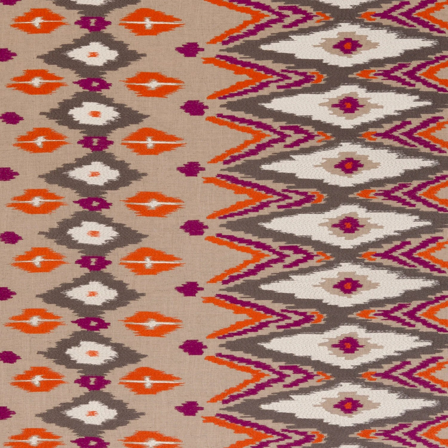 Orange Kilim Upholstery Fabric Purple Orange Embroidered Ikat