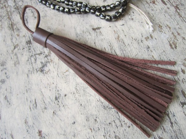 Brown Leather Tassel Large Bags