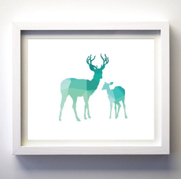 Teal And White Deer Print Geometric Animal Art Turquoise Aqua