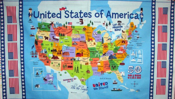 United States Map panel 50 states landmarks tourist sites