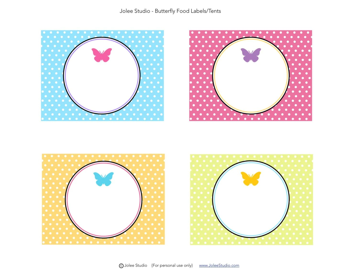 Butterfly Party Blank Food Labels Instant Download